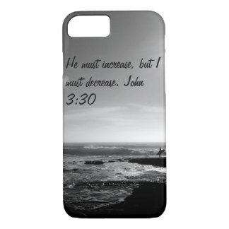 iPhone 7 case. John 3:30. Ocean. Black and white iPhone 7 Case