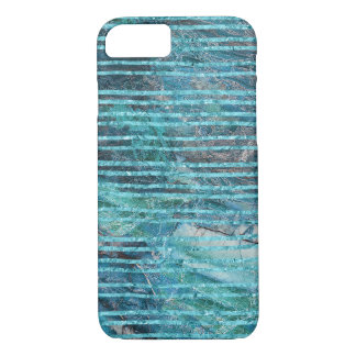 Iphone 7 Case Turquoise Lines On Green Marble
