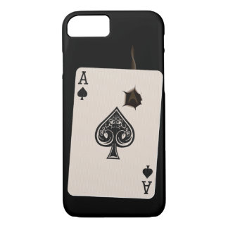iPhone 7 case with Ace of Spades with bullet hole