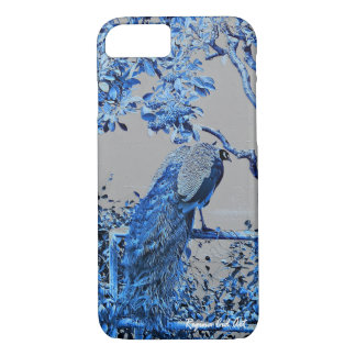 iPhone 7 case with the blue peacock design