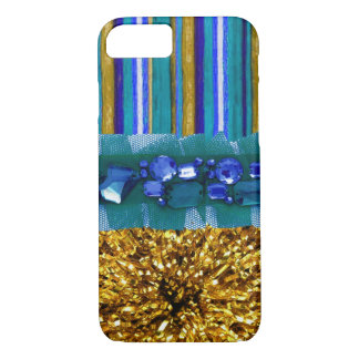 iPhone 7 Faux Rhinestone lace Blue and Gold Case