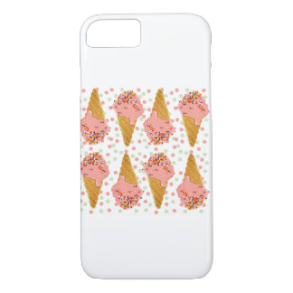 iPhone 7 Phone Case, Ice Cream Cone Polka Dots iPhone 7 Case
