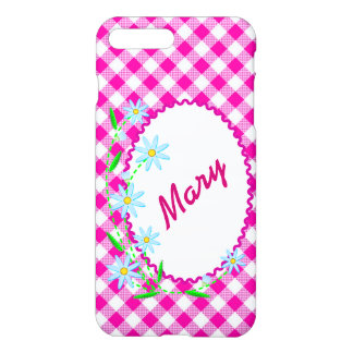 iPhone 7 Plus Gloss Case Pink Gingham Background