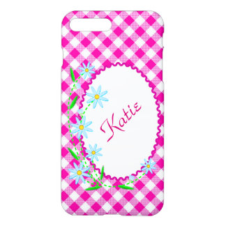 iPhone 7 Plus Matte Case Pink Gingham Background