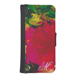 "IPhone 8/7 Wallet Case ""Magenta Flora"" Personalize"