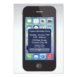 Cell phone birthday cards invitations zazzle iphone birthday party texting smart cell phone card bookmarktalkfo Image collections