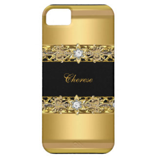 iPhone Black Floral Faux Gold iPhone 5 Covers