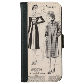 iPhone case - an aged vintage fashion print iPhone 6 Wallet Case