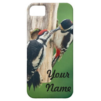 iphone case Great Spotted Woodpecker feeding
