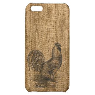 iPhone Case Rustic Burlap Rooster iPhone 5C Cover