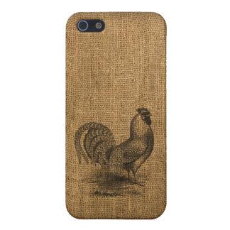 iPhone Case Rustic Burlap Rooster iPhone 5/5S Case