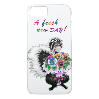 iPhone case - Skunk with Pansies