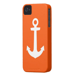 IPhone case white anchor on red