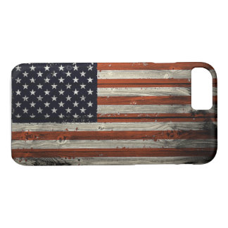 iPhone Case with American Wood Flag Print