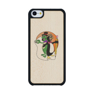 Iphone Case With PenguinFrog Logo Carved® Maple iPhone 5C Slim Case