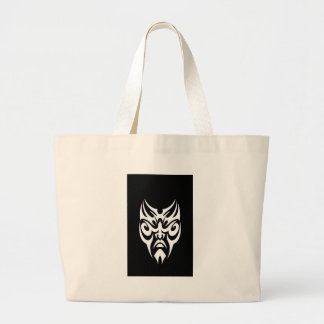 iPhone Cover White Tribal Face Tattoo Large Tote Bag