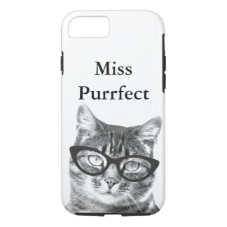 iPhone cover with funny cat photo and quote