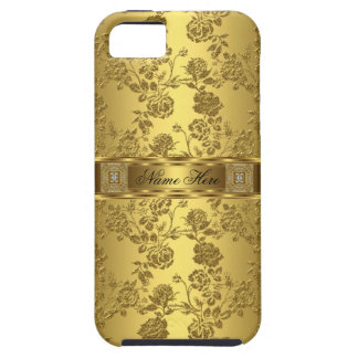 iPhone Elegant Classy faux Gold Damask Floral iPhone 5 Cases