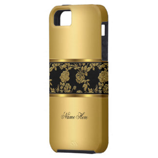 iPhone Elegant Classy Gold Black Floral Case For The iPhone 5