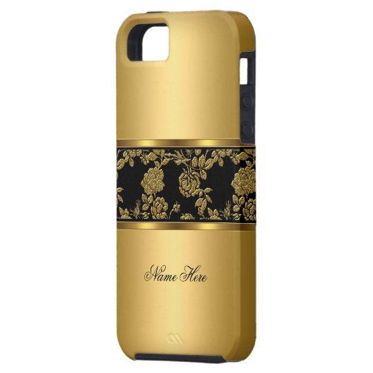 iPhone Elegant Classy Gold Black Floral Case For
