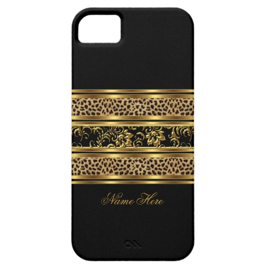 iPhone Elegant Classy Gold Black Leopard Floral iPhone