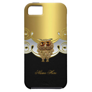 iPhone Gold Black White Owl Jewel Image Case For The iPhone 5