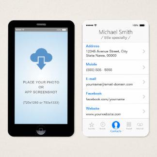 iPhone iOS Style App Screenshot Photo Business Card