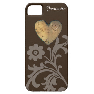 iPhone SE/5/5S Case - Chocolate Wood Heart