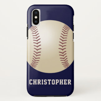iPhone X Case, Baseball, Blue, Personalized Tough iPhone X Case