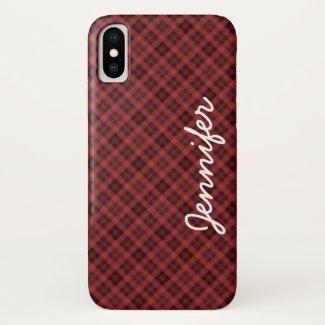 iPhone XS Case Red Black Tartan Plaid Personalised
