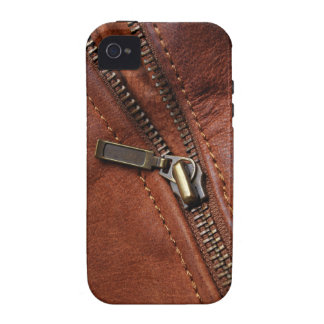 iPhone: Zipper of Brown Leather Biker Jacket iPhone 4/4S Cover
