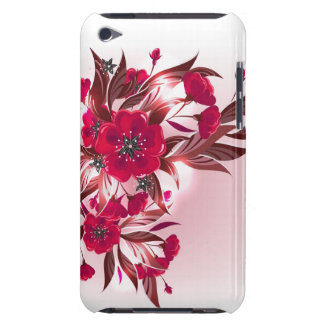 iPod case  with red flowers Barely There iPod Cover