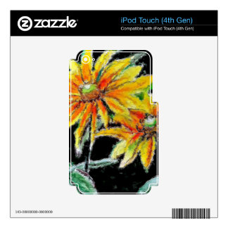 iPod Touch 4G Decal with Sunflower Art