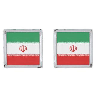 Iran Flag Cufflinks Silver Finish Cuff Links
