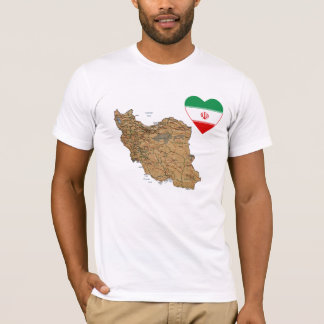 Iran Flag Heart and Map T-Shirt