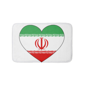 Iran Flag Heart Bath Mat
