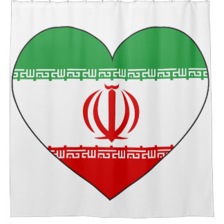 Iran Flag Heart Shower Curtain