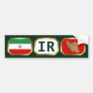 Iran Flag Map Code Bumper Sticker