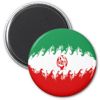 Iran Gnarly Flag 6 Cm Round Magnet