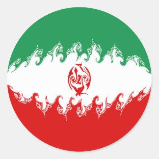 Iran Gnarly Flag Classic Round Sticker