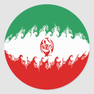 Iran Gnarly Flag Round Sticker