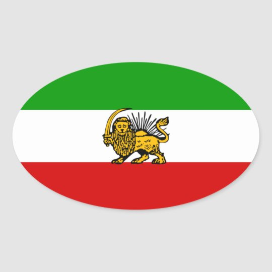 Iran Lion & Sun Flag Oval Sticker