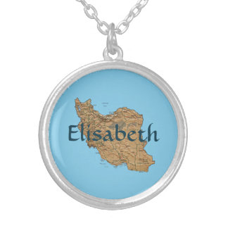 Iran Map + Name Necklace