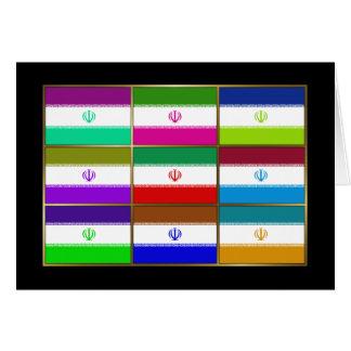 Iran Multihue Flags Greeting Card