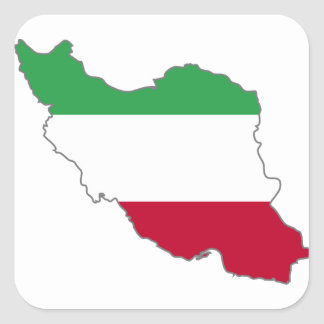 Iran Tricolor Flag Map Square Sticker