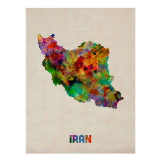 Iran Watercolor Map Poster