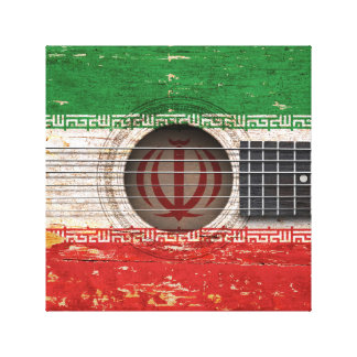 Iranian Flag on Old Acoustic Guitar Canvas Prints
