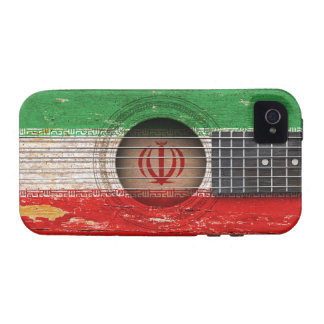 Iranian Flag on Old Acoustic Guitar iPhone 4/4S Cover