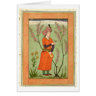 Iranian princely figure holding a cup and flask, c greeting card