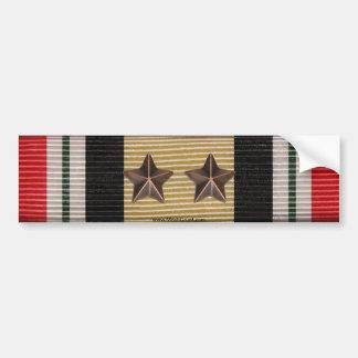 Iraq Campaign Medal Ribbon 2 Battle Stars Bumper Sticker
